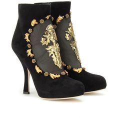 Dolce & Gabbana Suede Ankle Boots With Metallic Embroidered Cut-Out... ($1,833) ❤ liked on Polyvore featuring shoes, boots, ankle booties, heels, scarpe, booties, suede ankle boots, black high heel boots, black high heel booties and black ankle boots