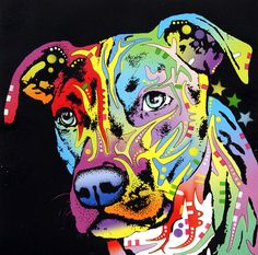 DEan Russo -Angel Pit Bull Painting - My sis would love this!  looks like Roxy
