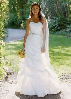 David's Bridal Taffeta Fit and Flare Wedding Dress with Pick-Ups and Sash $213