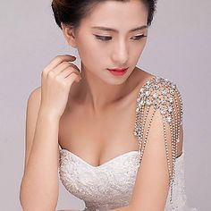 Amazing Alloy Silver Plated With Rhinestone Wedding Bridal Shoulder Chain Jewelry-Set of 2 – USD $ 71.99