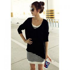 Wholesale Popular Long Sleeve Holes Sweater + Stripes Slip Dress Twinset For Women (BLACK,M), Long Sleeve Dresses - Rosewholesale.com