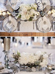 Winter Wedding Centerpiece ideas. I like the candles and the pine cones to add.