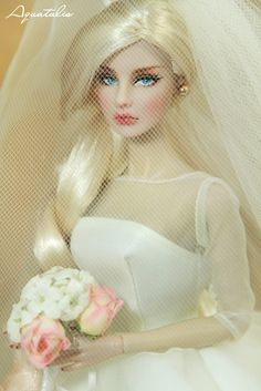 Original: Agnes Von Weiss Aristocratic Fashion Royalty. Repaint & Photos by QuanaP Wedding Gown & Accessories: Maria Therese Silkstone Barbie.