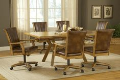 Rustic wooden leather kitchen chairs on wheels for 6 with large rectangular table