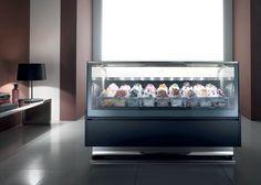 Ice cream, low temperature, gelato, frozen cake display. www.AdvancedGourmetDisplays.com