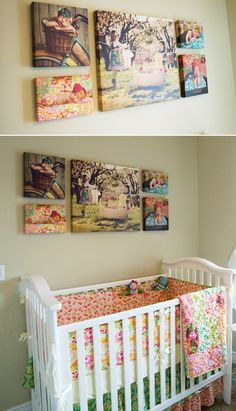 canvas collage in childrens room - I LOVE all the color in each of the pictures!