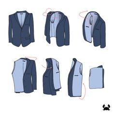 How to Fold a Jacket -- This ingenious folding method will save your suit jackets, sport coats, and blazers from travel wrinkles, ultimately saving you time and money while you're away on business. We're here to walk you through the step-by-step process (sketches included to make it that much simpler). #tutorial