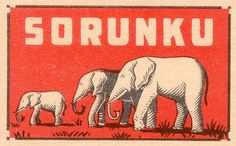 Swedish matchbox with a trio of elephants.