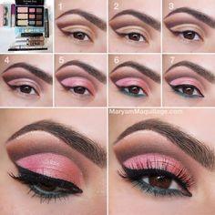Powder Pink Eye Makeup For Warm Brown Eyes