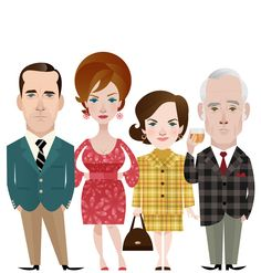 """""""Farewell to Mad Men. Illustrations I did for this week's Time magazine. Stanley Chow, Character Inspiration, Character Design, Adult Cartoons, Chow Chow, Cartoon Kids, Mad Men, Digital Illustration, Illustrations Posters"""