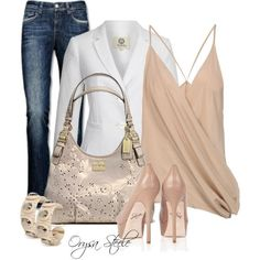 The blush colored top would go great with my tailored white suit jacket.