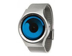Im Fluss der Zeit. Die Mercury Armbanduhr von ZIIIRO hat eine einzigartige Zeitscheibenanzeige und ein flexibles Mesh-Band aus Edelstahl. Diese Uhr im Farbton Chrome Ocean ist neu im Uhrenshop.