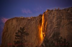 Horsetail Fall, California:  This incredible sight celestial happens in a flash at sunset in mid-February at Yosemite National Park — if the winter weather cooperates. On those days the setting sun illuminates one of the park's lesser-known waterfalls known as Horsetail Fall, so precisely that it resembles molten lava as it flows over the sheer granite face of El Capitan.