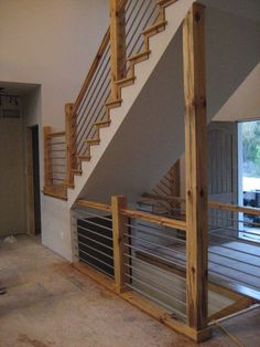 Woodworking woodworking home cable rail staircase, diy, stairs, woodworking projects - . Open Staircase, Staircase Railings, Stairways, Staircase Diy, Rebar Railing, Banisters, Cable Stair Railing, Diy Interior Cable Railing, Stairway Railing Ideas
