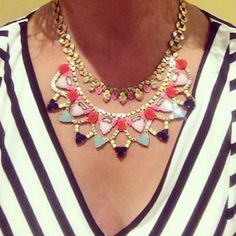 The colorful Fanella from Stella Dot looks great over solid colors and stripes alike. Instagram photo by mgteach