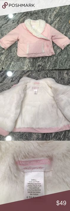 Janie AND Jack faux fur lines winter coat Baby pink faux fur lined winter coat from Janie and jack! Size 0-6 months. Start your baby girl as a fashionista early with this piece! Message me with any questions and make an offer to make it yours!! Thanks for visiting xo!! Janie and Jack Jackets & Coats