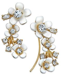 af6255721 kate spade new york Gold-Tone White Flower and Crystal Ear Climber Earrings  & Reviews - Fashion Jewelry - Jewelry & Watches - Macy's
