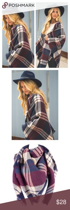 """Arrives Soon- Plaid Blanket Scarf Super soft and cozy! Brand new. Very large. Length: 58"""", Width: 58"""". 100% acrylic. Tartan scarf. ✨ PRICE IS FIRM UNLESS BUNDLED✨  тнαик уσυ Accessories Scarves & Wraps"""