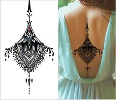 1piece Indian Arabic Fake black temporary tattoos stickers for arm shoulder tatoos waterproof men women big on back neck