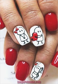 70 Cute Valentine Nail Art Designs for 2019 Nails Community. Showing the best of women's beauty💎 Nail art lovers Diy Valentine's Nail Art, Diy Valentine's Nails, Trendy Nail Art, Cute Nail Art, Red Nails, Matte Nails, Acrylic Nails, Latest Nail Art, Color Nails