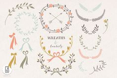 Wreaths laurels ribbons folk flowers by GrafikBoutique on Creative Market
