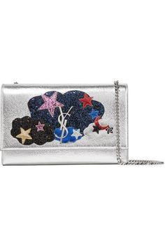 SAINT LAURENT Monogramme Kate Medium Appliquéd Metallic Textured-Leather  Shoulder Bag.  saintlaurent   60470a96e7b47