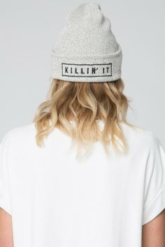 Brandy ♥ Melville | Killin' It Embroidery Beanie - Accessories