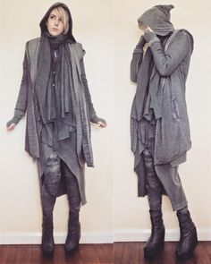 """crowrunner: """"  The grey pilgrim~ I wish it winter again…I need to live in a cold country!  Outer grey jacket and dress - H&M Leggings - Refuse to be Usual Quartz necklace - Magical Omaha Everything else is second hand Instagram """""""