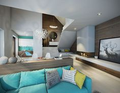 Turquoise brings colorful zest to the living room
