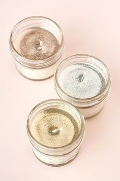 These DIY Glitter Soy Candles make a great DIY Valentine's Day gift.