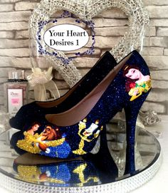 Beauty and the beast custom disney inspired womens shoes wedding prom cosplay by yourheartdesires1 on Etsy https://www.etsy.com/uk/listing/477071123/beauty-and-the-beast-custom-disney