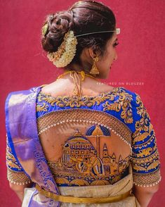 😍Can't Get Our Eyes Off This Gorgeous Bridal Blouze💖 . Cutwork Blouse Designs, Wedding Saree Blouse Designs, Blouse Neck Designs, Lehnga Dress, Frock Dress, Designer Blouse Patterns, Embroidery Fashion, Costume, Shiva