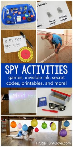 Spy and Secret Code Activities for Kids - Frugal Fun For Boys and Girls Birthday Activities, Primary Activities, Fun Activities For Kids, Family Activities, Secret Agent Activities For Kids, Kids Fun, Indoor Activities, Spy Games For Kids, Spy Kids Party