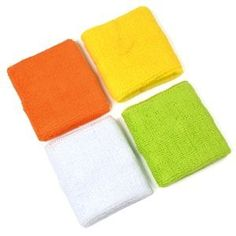 $10 for 4 pair of COSMOS ® Yellow/Orange/White/Light Green cotton sports basketball wristband / sweatband wrist sweat band/brace+Free Cosmos cable tie