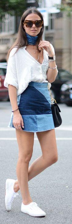 Blue Print Neck Tied Scarf White V-neck Top Patchwork Denim Skirt White Basic Sneakers by Fashionvibe