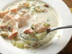 As a born-and-bred Boston kid, chowder holds a special place in my heart, and fish-based chowders doubly so, as a fish chowder was the very first dish I ever got to stick on a real restaurant menu. Chowder Recipes, Soup Recipes, Cooking Recipes, Salmon Chowder Recipe Easy, Recipes Dinner, Seafood Recipes, Serious Eats, Salmon Soup, Fish Chowder