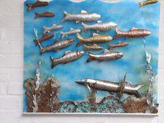 """Metallbild """"Schwarmfische mit Hecht"""" 60x70 cm Edelstahl, Kupfer, Messing, Alu. einzigartig von art-lomo.de"""