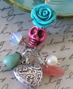 so cute & on sale! Skull Pendant, Pendant Necklace, Pink Sugar, Halloween Jewelry, Heart Charm, Sugar Skull, Rose Quartz, Skulls, Hot Pink