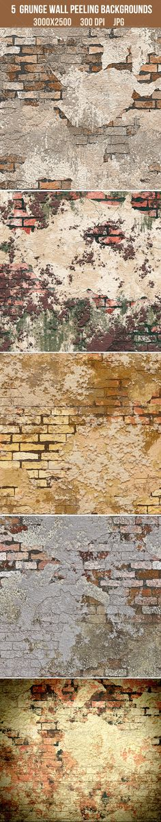 5 Grunge Brick Wall Peeling Textures  #GraphicRiver       JPGImage Layered: