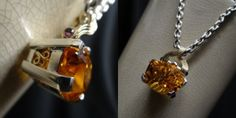 Custom Citrine pendant in sterling silver and 14K yellow gold, complete with gorgeous scroll setting! Mitchum Jewelers.