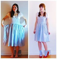Good Gravy:Trick or Treat or Thrift: Dorthy Halloween Costume. DIY, sewing, before and after, upcycle