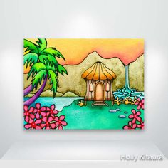 Little Grass Hula Shack This is a fine art giclée print of an original watercolor, acrylic and ink painting. It is printed on archival matte Oil Pastel Paintings, Oil Pastel Drawings, Art Drawings, Oil Pastels, Canvas Paintings, Oil Pastel Crayons, Tiki Art, Easy Drawings For Kids, Hawaiian Art
