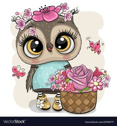 Cartoon Owl with flowers on a white background. Cute Cartoon Owl with flowers on a white background stock illustration Cartoon Cartoon, Cute Cartoon Animals, Cartoon Images, Cute Animals, Cartoon Owl Drawing, Baby Animal Drawings, Cute Drawings, Owl Artwork, Owl Vector