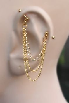 Industrial Barbell, Industrial piercing, Jewelry, Industrial bar earring, Industrial piercing chain, Gold or Silver (m2d) by triballook on Etsy https://www.etsy.com/listing/200514054/industrial-barbell-industrial-piercing