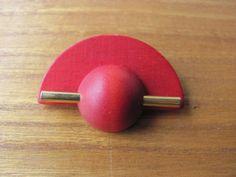 Aarikka Vintage Red Wooden Brooch Retro  #Aarikka