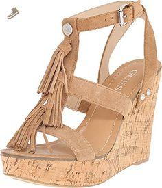 Guess Heya Women US 10 Brown Wedge Sandal - Guess pumps for women (*Amazon Partner-Link)