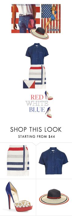 """""""Red, white & blue"""" by noconfessions ❤ liked on Polyvore featuring Paul & Joe, Topshop, Christian Louboutin, Tommy Hilfiger and Clare V."""