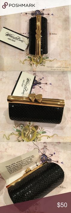 NWT Whiting & Davis coin purse Whiting & Davis Black brass metal mesh and gold metal framed coin purse/lipstick holder. Adorned with a heart kiss lock clasp, and logo printed fabric inside with gold brand plaque. NWT. Perfect gift idea for someone special on Mother's Day, Valentine's Day or any other holiday. ⭐️Price is firm since posh takes 20% out on my end⭐️ Whiting & Davis Bags Cosmetic Bags & Cases