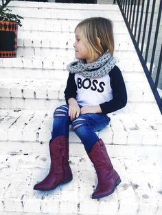 Girls Tshirt - BOSS Raglan at heylucyjane.com heylucyjane.com     Raglan Girls TShirt - IG @heylucyjane  Distressed Jeans - IG @farmfreshdenim  Handmade Infinity Scarf - IG @finomenallyclothed