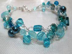 Aqua Bracelet wire crochet bracelet beaded handmade by HettyMarie, $13.00